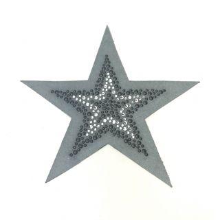 Applicatie Ster Rhinestones - grijs - Restyle