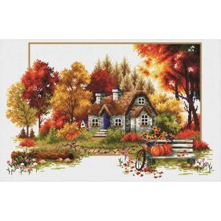 Borduurpakket Autumn Cottage voorbedrukt - Needleart World