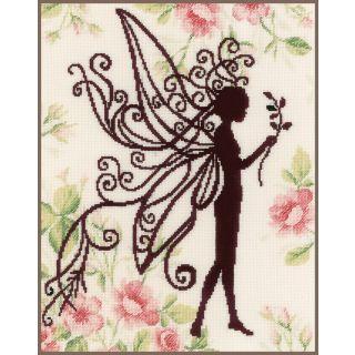 Borduurpakket Bloemenfee silhouette I - Lanarte
