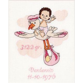 Borduurpakket It's a Girl geboortetegel  - Thea Gouverneur