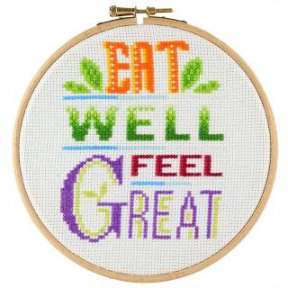 Borduurpakket Eat well Feel great - Stitchonomy