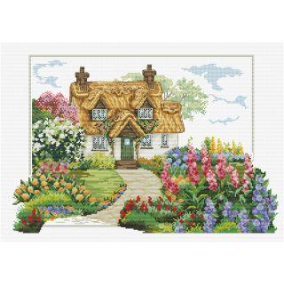 Borduurpakket Foxgloves Cottage voorbedrukt - Needleart World