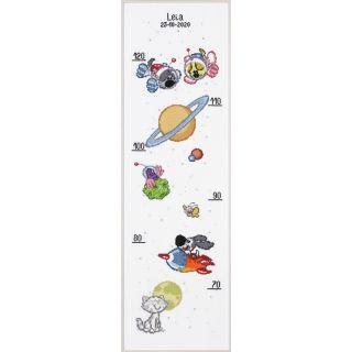 Groeimeter Woezel & Pip kids in de ruimte borduurpakket - Pako