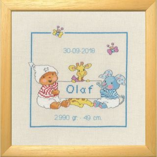 Borduurpakket Happy Friends Olaf geboortetegel - Permin