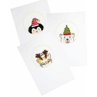 Kerstkaarten borduurpakket Dieren - Pako