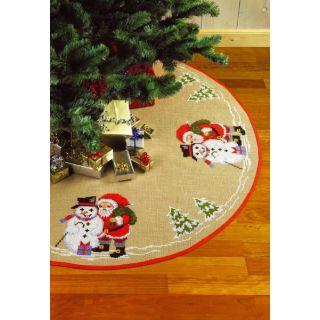 Borduurpakket Kleed rond Kerstman en Sneeuwpop  - Permin