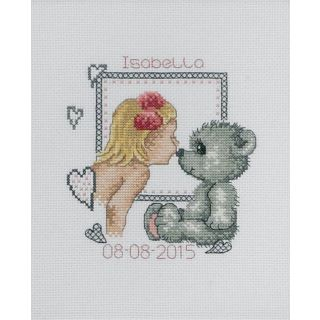 Borduurpakket Teddy meisje geboortetegel - Permin