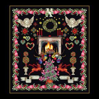 Borduurpakket Kerst merklap Black Collection - Thea Gouverneur