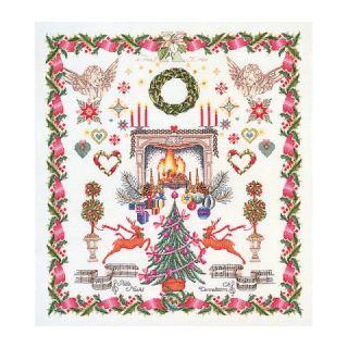 Borduurpakket Kerst merklap Linnen - Thea Gouverneur