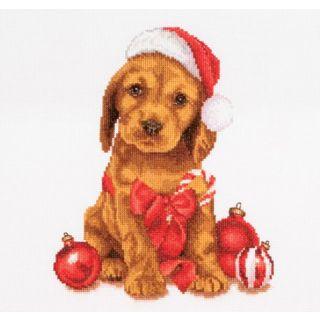 Borduurpakket Kerstpuppy  - Thea Gouverneur