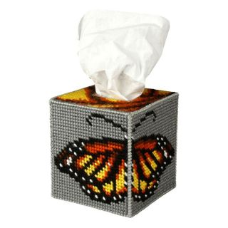 Borduurpakket Tissue box Vlinder - Orchidea