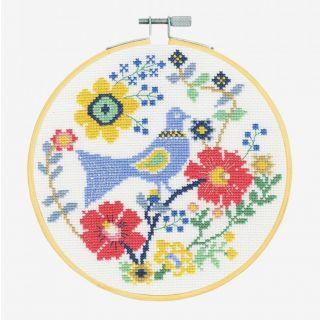 Borduurpakket Vogel met bloemen - DMC