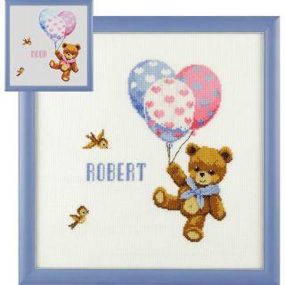 Borduurpakket geboortetegel beertje met ballonnen - Pako