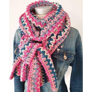 Haakpakket Vrolijke Strepensjaal roze/blauw/grijs - Tante Setje
